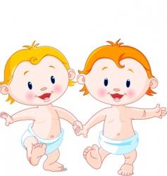 babies walking vector image