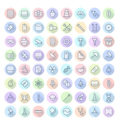 icons line rounded tech science thin vector image vector image