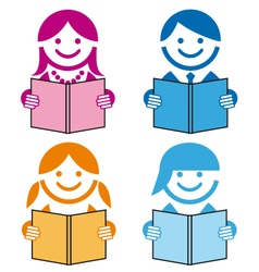 people with books icons vector image