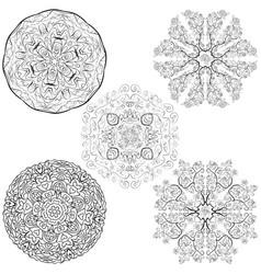 tribal native style five mandalas flowers set vector image