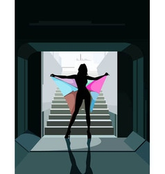 cartoon silhouette of a woman with colored vector image