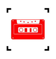 cassette icon audio tape sign red icon vector image