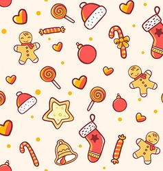 seamless christmas pattern on light background vector image vector image