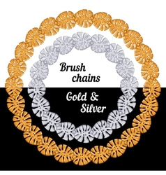 Tropical leaves Set of chains metal brushes - gold vector image