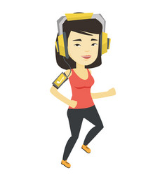 woman running with earphones and smartphone vector image vector image