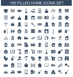100 home icons vector