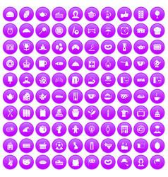 100 tea time food icons set purple vector