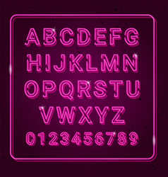 3d alphabet with neon effect vector image