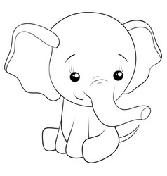 a children coloring bookpage a cartoon elephant vector image