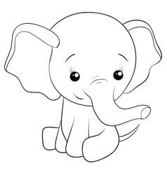 A children coloring bookpage a cartoon elephant vector