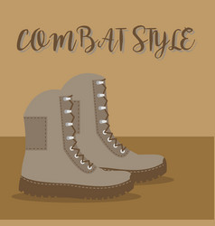 A pair of brown army boots vector