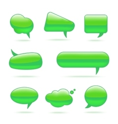 Abstract Glass Green Speech Bubbles Set vector image