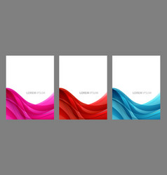 abstract header blue pink red wave design vector image