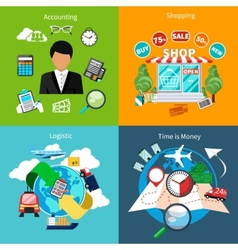 Accounting shopping logistic and time is money vector image