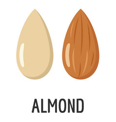 almond icon flat style vector image