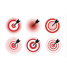 arrow hit target icons set flat winner vector image