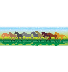 Background with horses running gallop vector