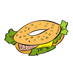bagel colorful doodle vector image