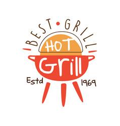 Best hot grill estd 1969 logo template hand drawn vector