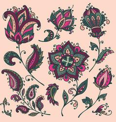 big set colorful henna floral elements vector image