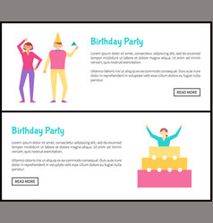 birthday party web posters set with men and women vector image