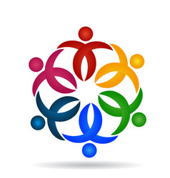 caring people teamwork flower shape icon vector image