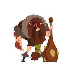 Caveman in animal skin with a cudgel stone age vector