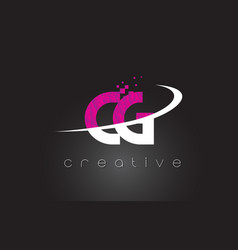 Cg c g creative letters design with white pink vector