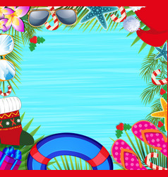 Christmas beach frame with copy space vector