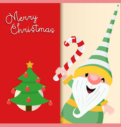 christmas greeting card cute holiday elf cartoon vector image