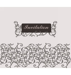 Classic Golden Floral Damask Invitation Card vector