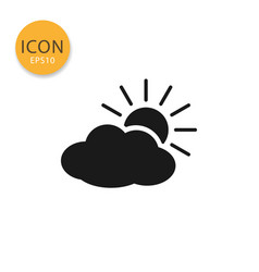 Cloud with sun icon isolated flat style vector