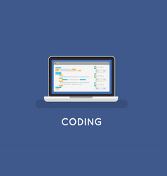 coding php or html on laptop programming vector image
