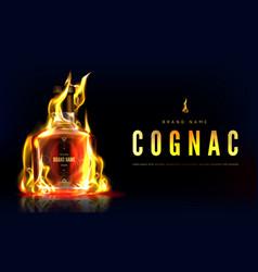 Cognac bottle in fire advertising promo banner vector