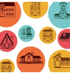 colorful pattern with houses logo design vector image
