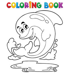coloring book dolphin theme 2 vector image
