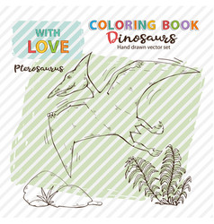 coloring book pterosaur with plant and vector image