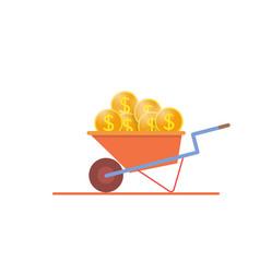 Construction wheelbarrow full of gold dollar vector
