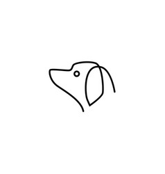 continuous dog head logo icon vector image