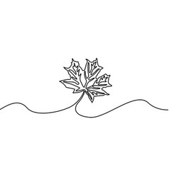 Continuous line maple leaf nature autumn theme vector