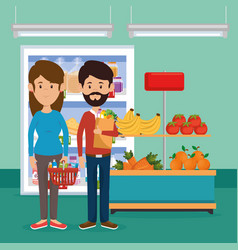 Couple with supermarket groceries vector