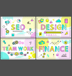 creative business banners with linear decor icons vector image