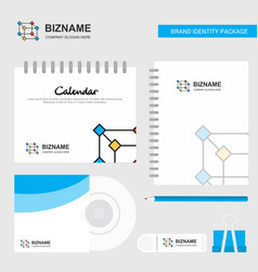 cube logo calendar template cd cover diary and vector image