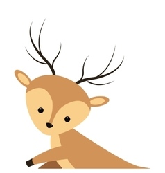 cute reindeer cartoon icon vector image