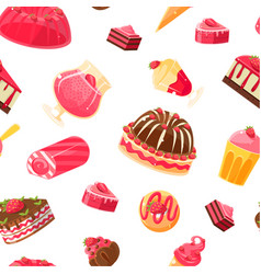 delicious desserts seamless pattern jelly cake vector image