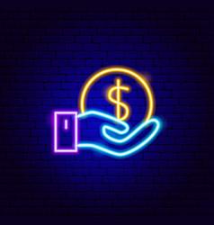 Dollar coin holding neon sign vector