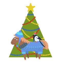 donkey in warm winter cloth bullfinch in santa s vector image