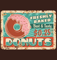 Donuts rusty metal plate bakehouse card vector