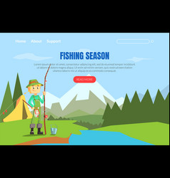 fishing season landing page template web page vector image