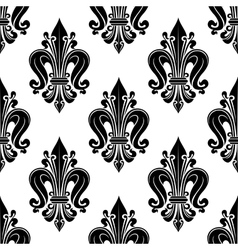 Floral seamless pattern with fleur-de-lis motif vector